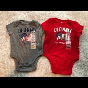 Old Navy flag onesie lot